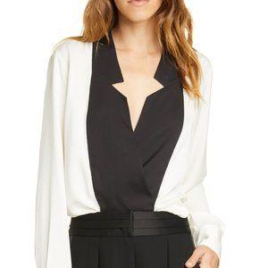FRAME Notch Collar Silk Blouse (Black/Off-white)